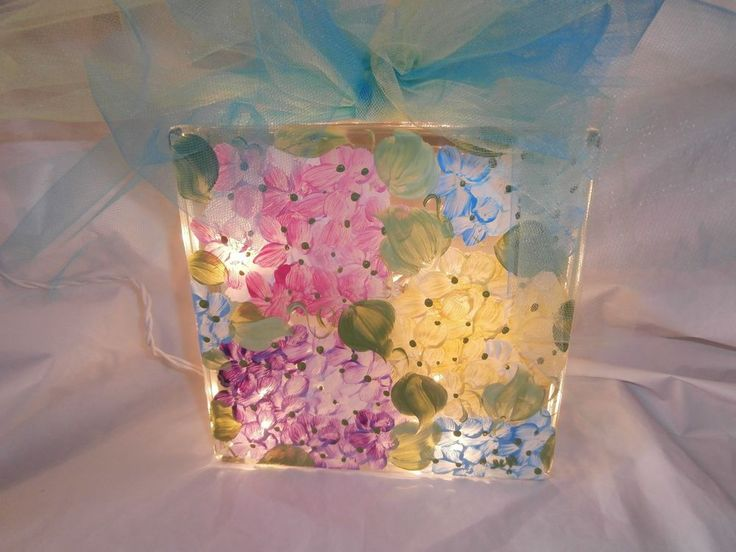 HAND PAINTED 8 X 8 LIGHTED BLOCK IN PINK/YELLOW/BLUE/PINK HYDRANGEAS TULLE BOW #HANDPAINTED