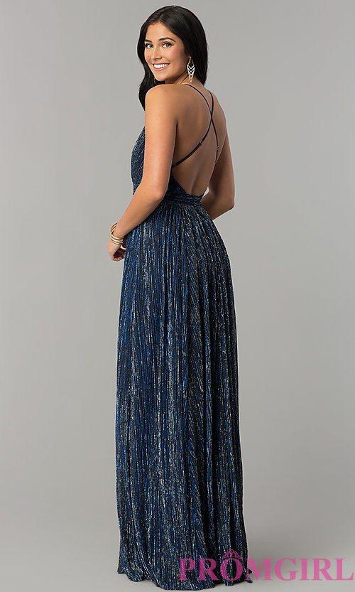 3e0dd6dc139a Long Metallic Crepe V-Neck Prom Dress in 2018