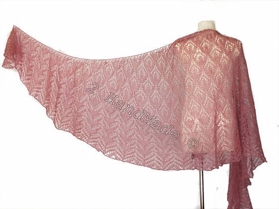 Lace Knit Triangular Rose Pink Shawl Wrap Mohair Wool Fall Boho Handmade Wedding Scarf Fashion Woman Lady Collar Casual Infinite Extra Long  Beautiful lace knitted triangular shawl in mohair yarn The shawl is made of very soft mohair (80%) and polyamide (20%). Measurements: Lenht 120 inch (300 cm) Height 39 inch (100 cm)  Here you can see other my hand knitted shawls  http://www.etsy.com/shop/2HandMade?section_id=11342729  Or all my items  http://www.etsy.co...