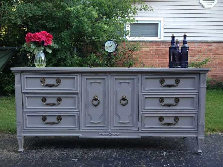 Gray painted dresser by Twice Loved Furniture Creations
