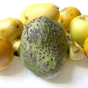 Guanabana  The guanabana, or soursop, is native to Central and South America but is currently grown in Asia. Large inedible seeds make its white pulp difficult to eat. It's worth eating if you like pineapples or strawberries, though, because the guanabana's flavor has been compared to those two fruits.