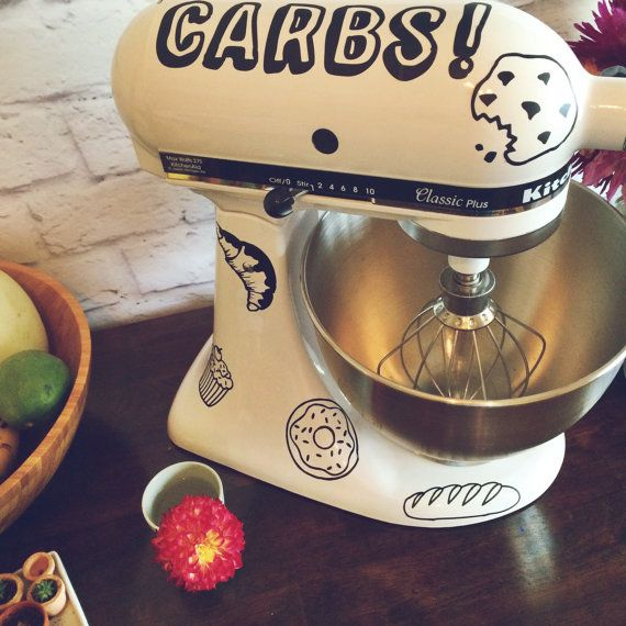 Yay Carbs! Funny Kitchenaid Mixer Decal with Doodled Cookies and Desserts Pattern