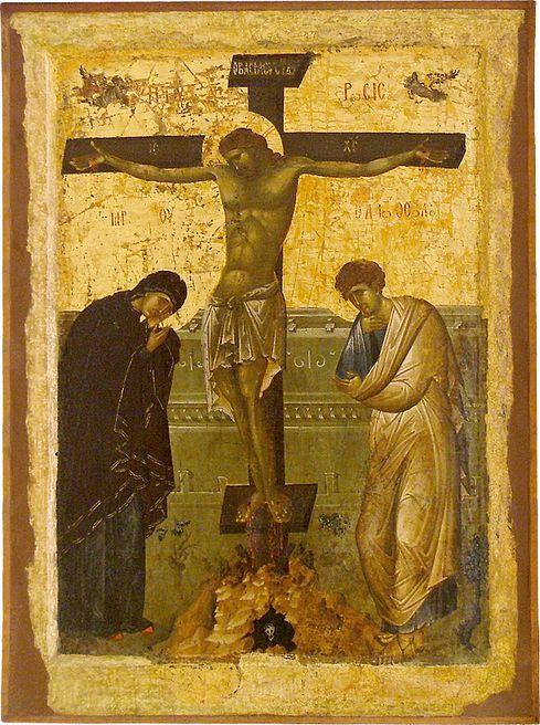 The Crucifixion. Early 14th c. Icon gallery, Ohrid, FYRoM.