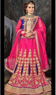 Deep Pink Color Jacquard Silk A Line Style Lehenga Choli | FH586586341