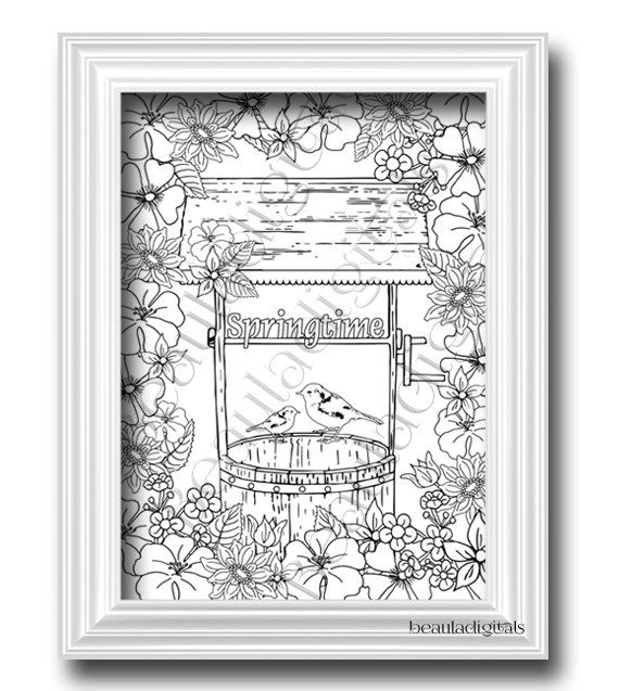 Coloring Page for Adults & Kids  Printable Art  by Beauladigitals