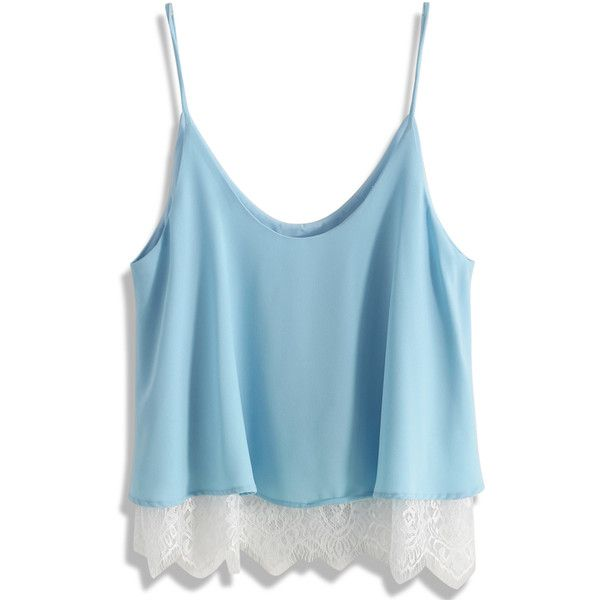 Chicwish Breezy Lace Trimmed Cami Top in Blue (£29) ❤ liked on Polyvore featuring tops, shirts, tank tops, blusas, crop top, blue, cropped cami, blue crop top, lace trim cami and cami shirt
