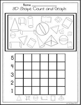 Printables 3d Shapes Worksheets For Kindergarten 1000 images about kindergarten math 3 d shapes on pinterest 3d shape count and graph