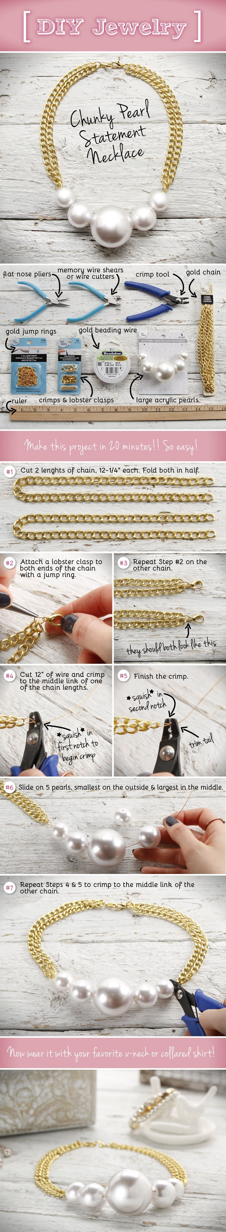 Create a fashionably trendy Chunky Pearl Statement Necklace with this easy DIY tutorial