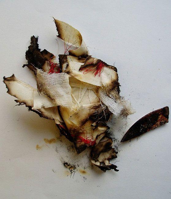 Sarah Burgess - Improvise.  Wood, wire, grass, paper, metal. 21cm x 30cm; 2011.