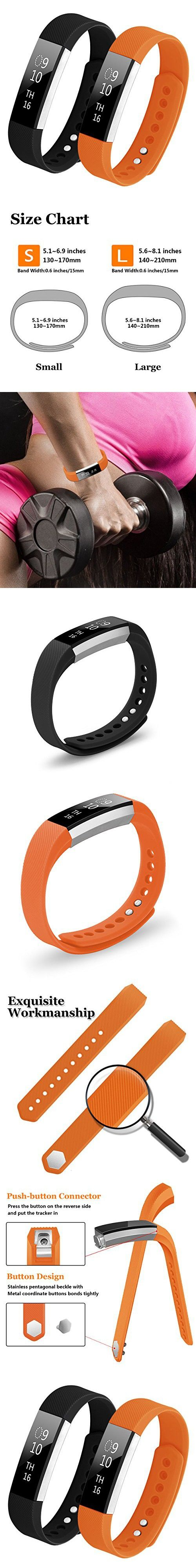 Bepack Band for Fitbit Alta/Alta HR, Soft TPU Adjustable Sport Strap Band for Fitbit Alta/Alta hr Smart watch Heart Rate Fitness Wristband (Black+Orange, Small (5.1-6.9 in))