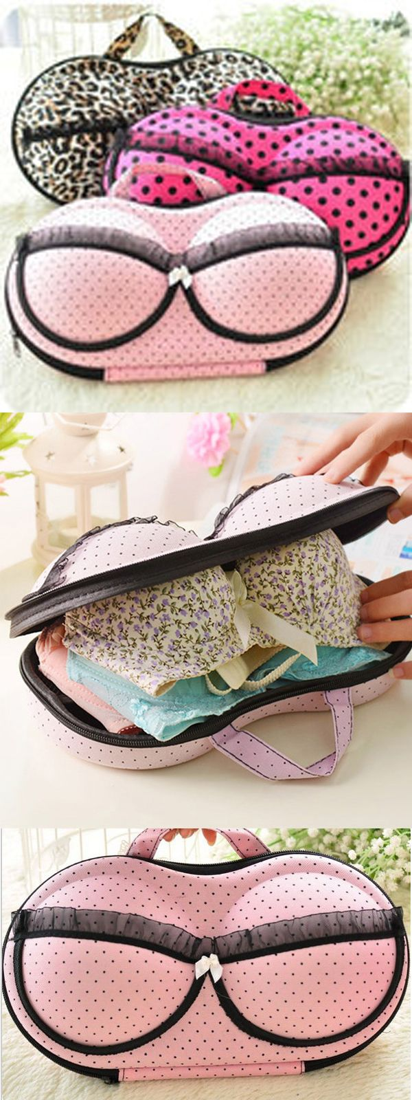 US$7.67 Large Capacity Creative Bra Underwear Storage Box Travel Portable Organizer Bags 32cm #newchic#storage#home#giftidea