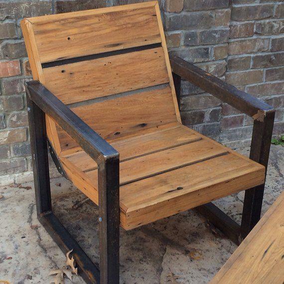 Reclaimed Wood And Steel Outdoor Chair Metal Outdoor Chairs