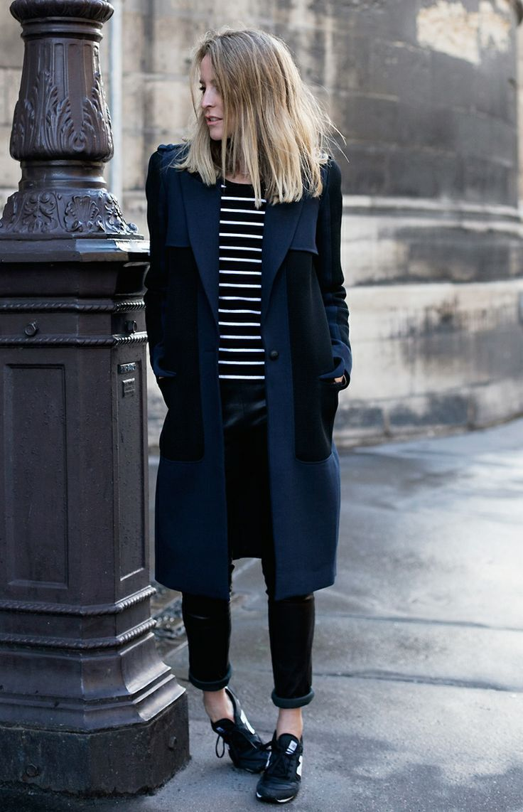 Shop this look on Lookastic:  https://lookastic.com/women/looks/coat-crew-neck-t-shirt-skinny-pants-athletic-shoes-scarf/5725  — Black and White Athletic Shoes  — Black Leather Skinny Pants  — Navy Coat  — Black Cotton Scarf  — Black and White Horizontal Striped Crew-neck T-shirt