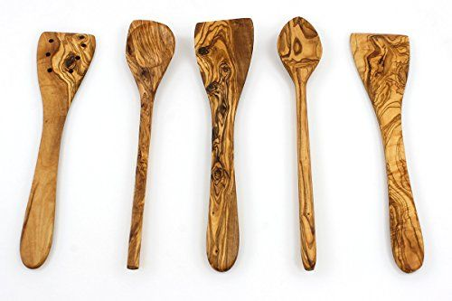 Tramanto Olive Wood Spatulas and Spoons Cooking Utensil Set, 12 inches - Corner Spoon, Round Spoon, Curved Spatula, Flat Spatula and Slotted Spatula. For product & price info go to:  https://all4hiking.com/products/tramanto-olive-wood-spatulas-and-spoons-cooking-utensil-set-12-inches-corner-spoon-round-spoon-curved-spatula-flat-spatula-and-slotted-spatula/