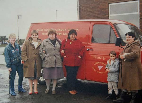 Miners' wives with a van bought with funds collected by LGSM, 1985