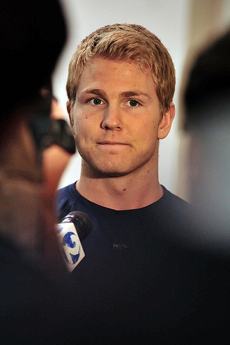 Colin Wilson, plays for Nashville, warms up without a helmet... drool...