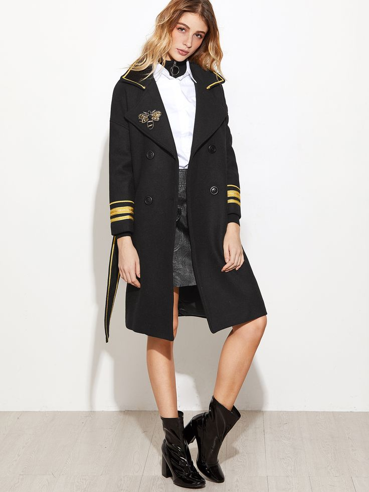 army coat with bee embroidery