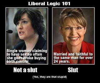 I don't think anyone would call Sarah Palin a slut. I complete idiot....yes....typical Republican BS