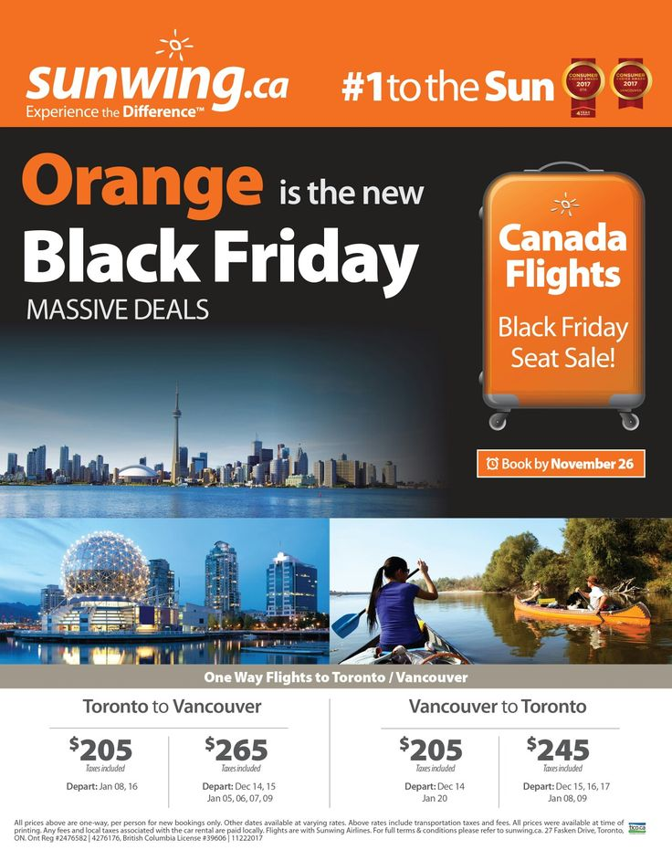 Massive Black Friday Seat Sale! Book by November 26 #Toronto #Vancouver #travel