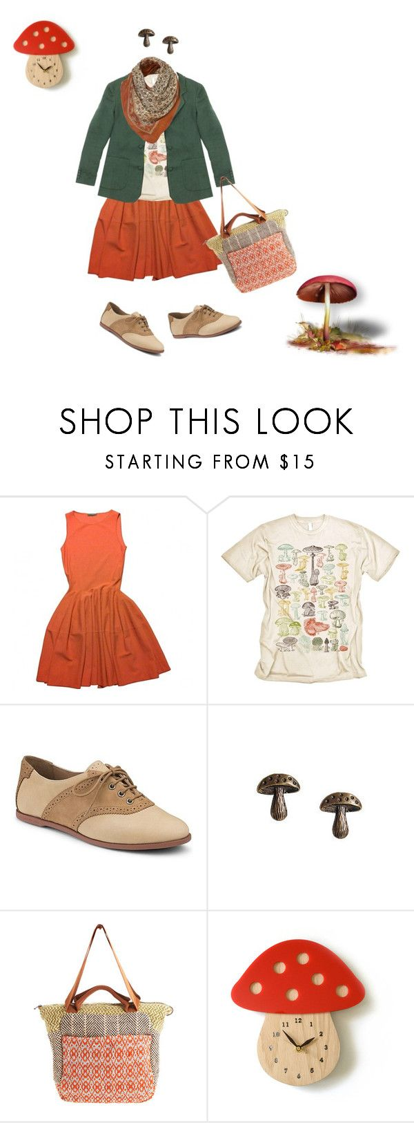 """""""It's Mushroom O'clock."""" by sparkles-and-salamanders ❤ liked on Polyvore featuring Alexander McQueen, Sperry, Maria La Rosa and WALL"""