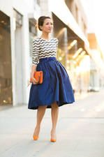 October Skies :: Royal Blue Skirt & Orange Details