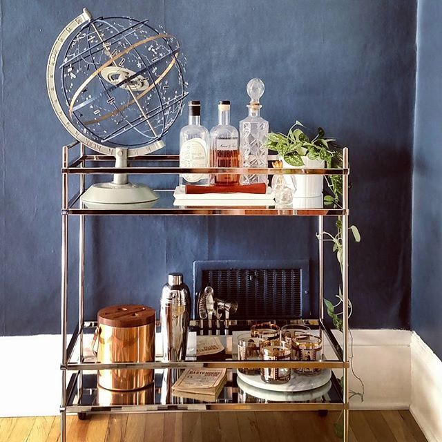 Got a bar cart (which I've been wanting for YEARS), immediately styled it up. #bar #style #barcart #mywestelm