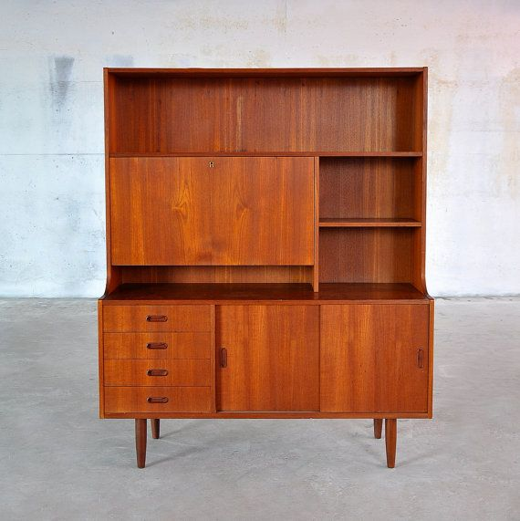 Amazing Danish Modern Teak Bookcase Secretary Desk Bar