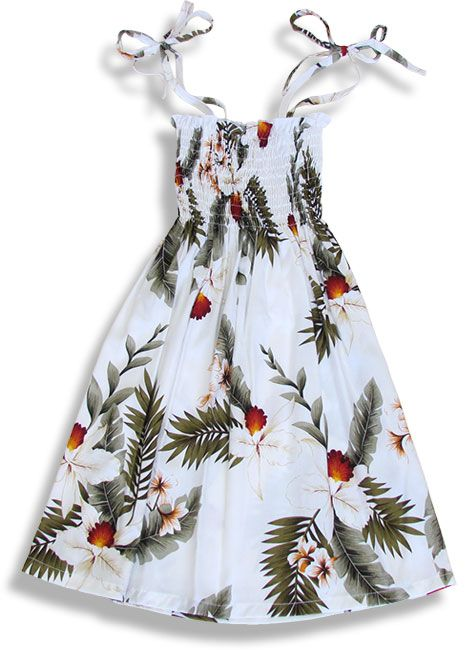 Shop from Hawaii  Girl's Tube Top Hanapepe Dress with Orchids at Shaka Time Hawaii Clothing Store