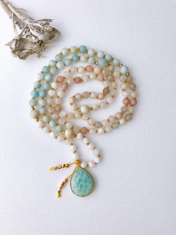 New Beginnings Moonstone And Amazonite Mala Necklace Mala Beads