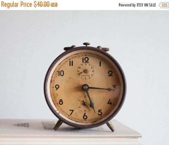 SALE Rustic Alarm Clock Brown Rust Clock by TheThingsThatWere