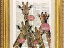 Giraffa illustrazione, stampa, pagina dizionario
