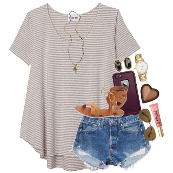 A fashion look from April 2016 by thefashionbyem featuring Olive + Oak, Topshop, Kate Spade, Kendra Scott, Alexandra Beth Designs, Ray-Ban, Too Faced Cosmetics...