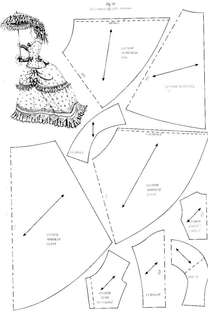 Image result for patterns for antique french fashion dolls from 1850-1900
