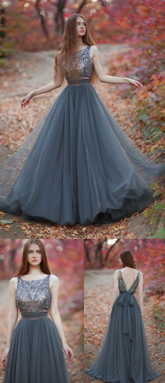 Gray long evening dress, tulle party dress with V back, evening dress with round neck and pearl embroidery 0137