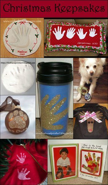 It's Day 1 of our 12 Days of Christmas Pinspiration featuring ideas found on Pinterest meant to inspire your own creations. Today is handprint, footprint, & fingerprint DIY ornament keepsakes. Clay Handprint Ornament Keepsakes Precious Footprint Baby Keepsake– Clayful Impressions Clay Santa Ornaments– Canadian Bride [Forum] Clay Thumbprint Ornaments–InfarrantlyCreative Handprint Santa Ornament–Clayful Impressions Hand Print...