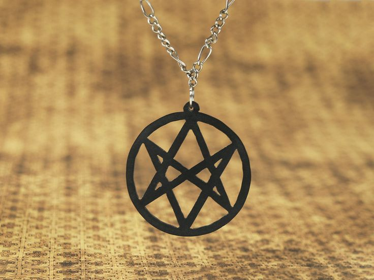 Men of Letters symbol (Supernatural) necklace | Aquarian Star necklace | scroll saw cutting, material: HIPS polystyrene | The new season of Supernatural just started, so I've decided to make something thematic.