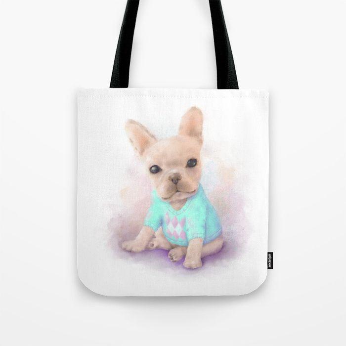 French Bull Dog Tote Bag #OksanaAriskina  #FineArtPhotography #HomeDecor #FineArtPrint #Wall #PrintsForSale #Dog #FrenchBullDog #Illustration #Watercolor #WallArt #Pink #Aqua #Society #ToteBag #Bag