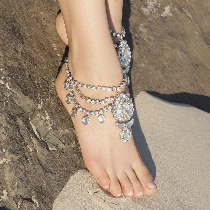 Enchanted Silver Jewelled Anklets by Forever Soles   Forever Soles Bridal Shoes