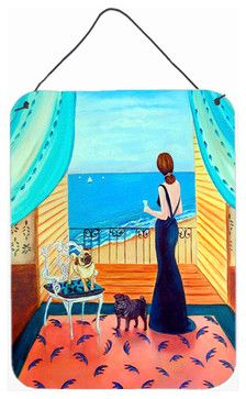 Lady with Her Pug Aluminum Metal Wall or Door Hanging Prints traditional-novelty-signs
