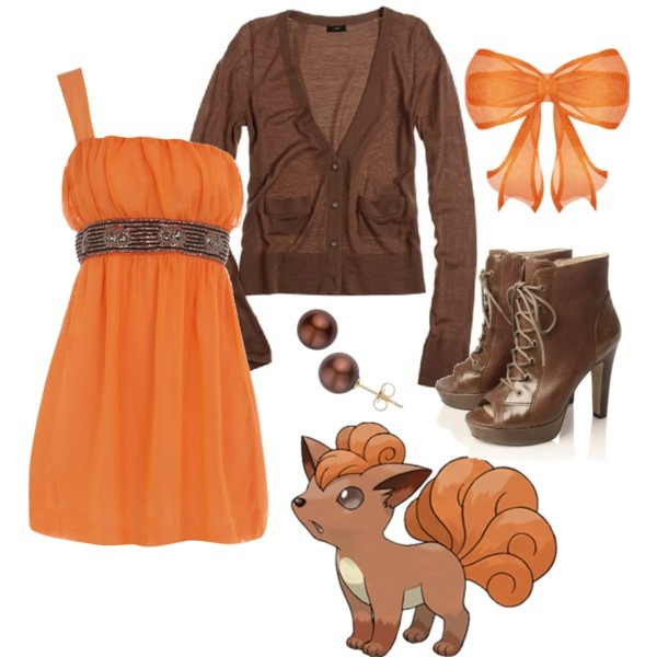 Vulpix, created by catloverd on Polyvore... I know it's nerdy because of the Pokemon reference, but this is a super SUPER cute outfit!