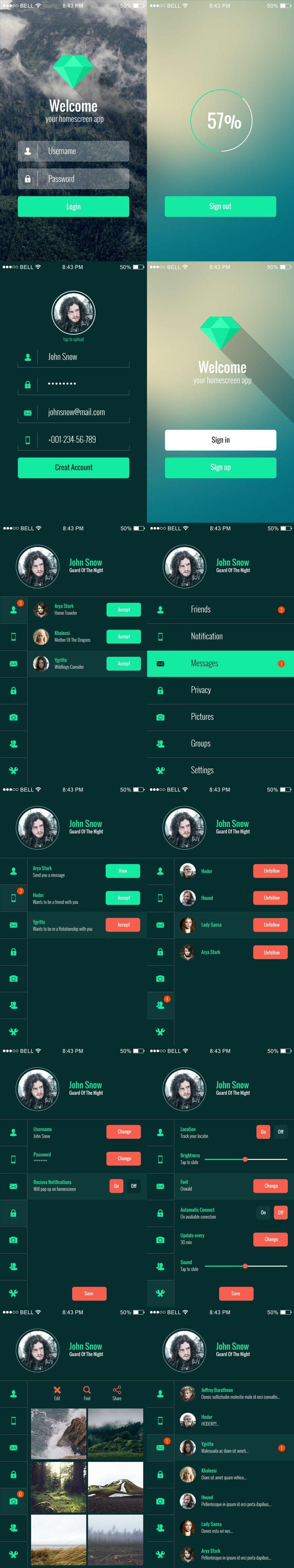 Mobile app ui kit preview