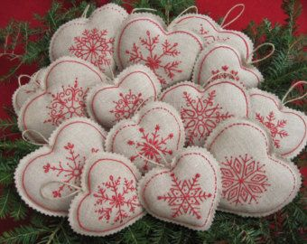 Embroidered Snowflake Linen Heart Christmas Ornaments от twood59