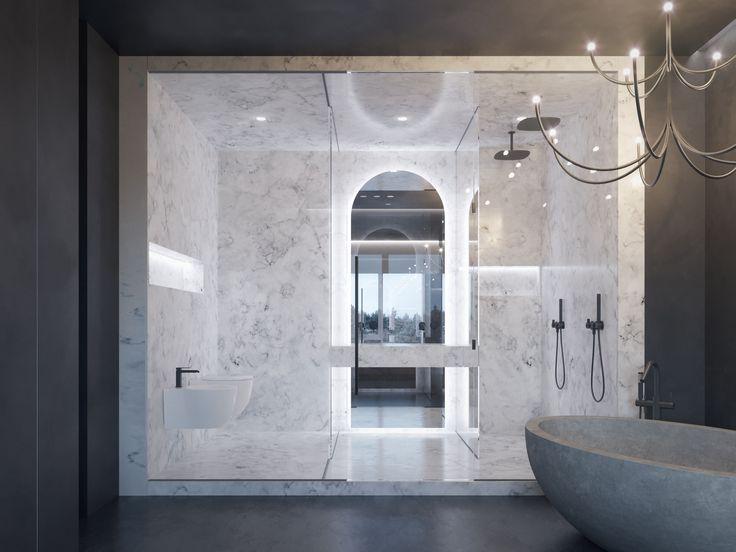 marble bathroom monochrome interior