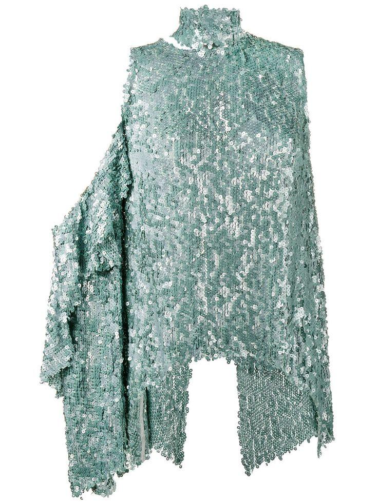 Magda Butrym топ на одно плечо декорированный пайетками
