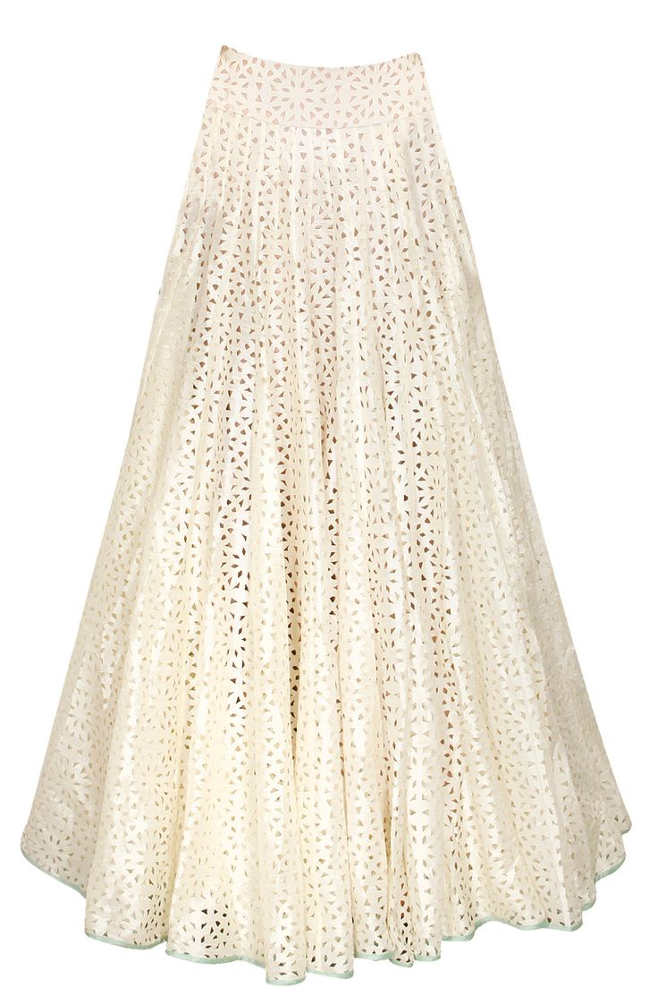Off white cutwork peated lehenga by SVA. Shop now: http://www.perniaspopupshop.com/designers/sva #sva #lehenga #perniaspopupshop #shopnow
