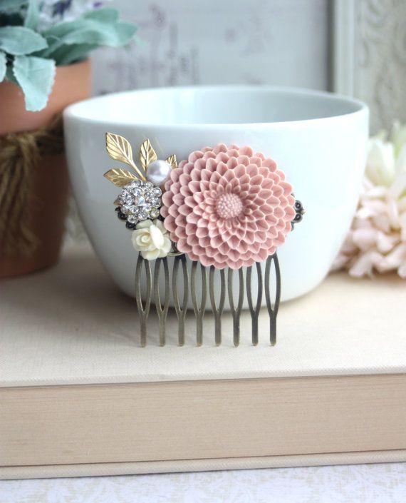 A Large Powder Blush Pink Chrysanthemum Flower  by Marolsha, $32.00