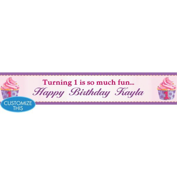 1st Birthday Pink Custom Banner 6ft