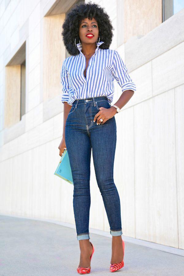 Striped Button Down Shirt + High Waist Levis Jeans