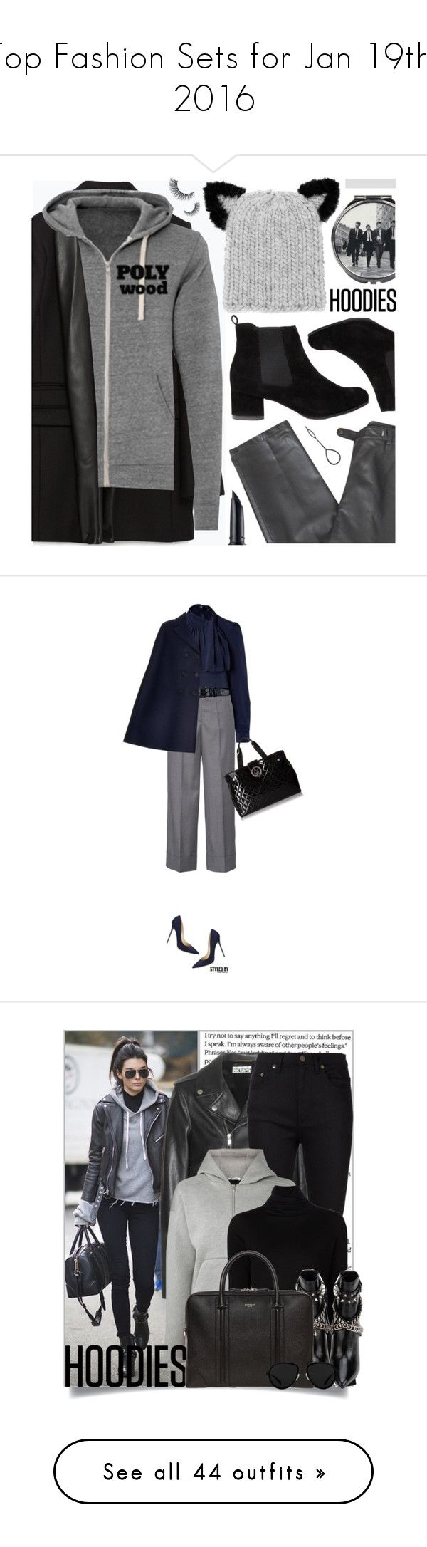 """Top Fashion Sets for Jan 19th, 2016"" by polyvore ❤ liked on Polyvore featuring Zara, Polywood, Lafayette 148 New York, Disaster Designs, Eugenia Kim, Benefit, grey, Trendy, hoodie and Dorothy Perkins"