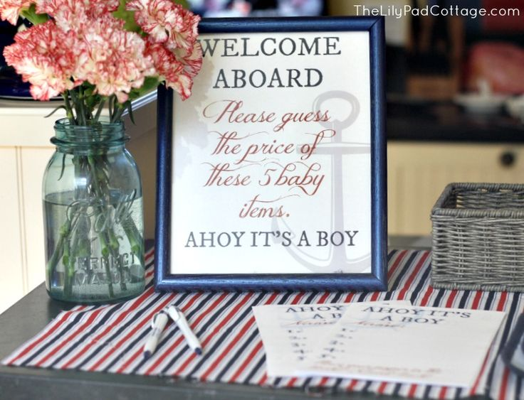 Ahoy Itu0027s A Boy Baby Shower Featuring Fun Nautical Touches.